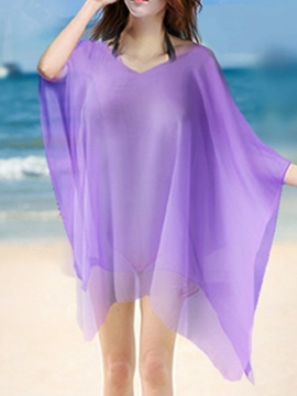 Ericdress Solid Color V-Neck Loose Cover-Up