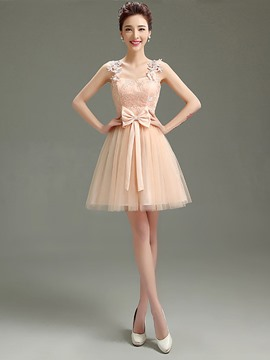 Ericdress Sweet Straps Appliques Bowknot Short Bridesmaid Dress