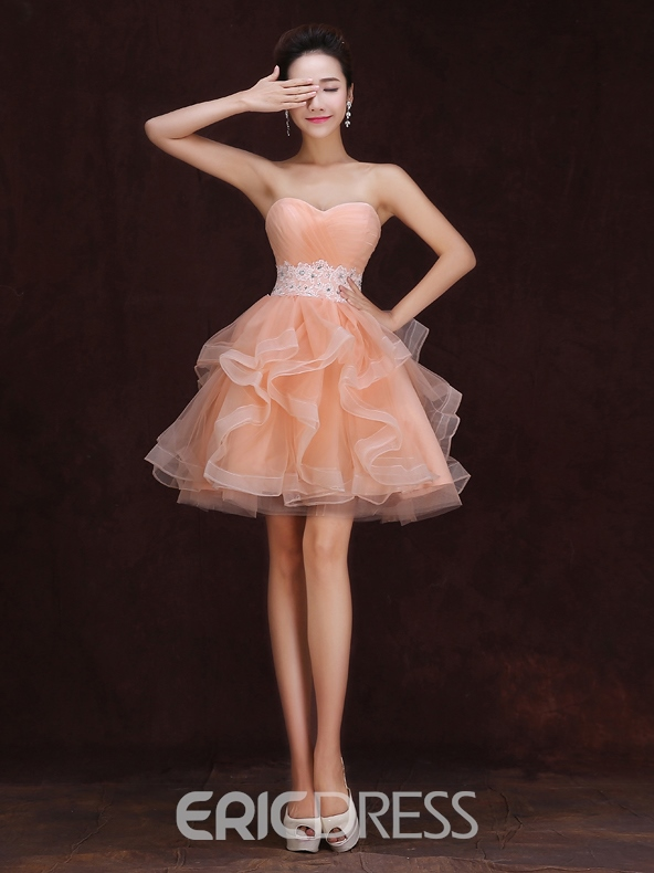 Ericdress A-line Sweetheart Ruffles Appliques Mini Homecoming Dress