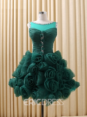 Ericdress A-Line Bateau Neck Handmade Flowers Homecoming Dress