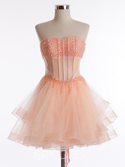 Ericdress Sweetheart Neckline Beading Mini Homecoming Dress