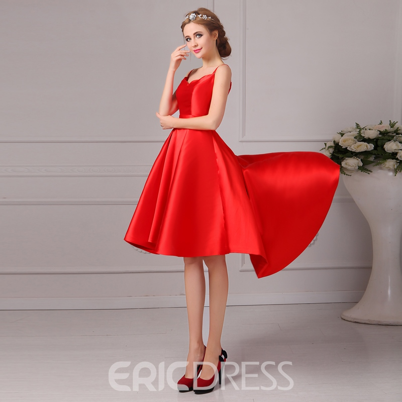 Ericdress Spaghetti Straps Lace-Up Asymmetrical Prom Dress