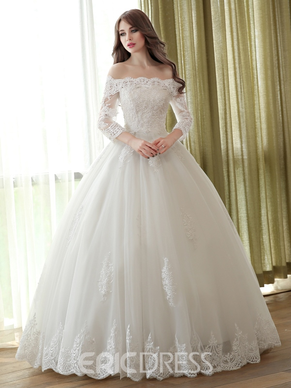 Ericdress elegant off the shoulder ball gown wedding dress for Off the shoulder ball gown wedding dress