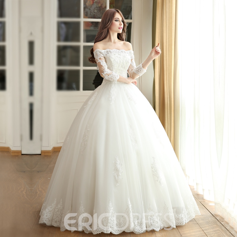Ericdress Off the Shoulder Ball Gown Wedding Dress with Sleeves