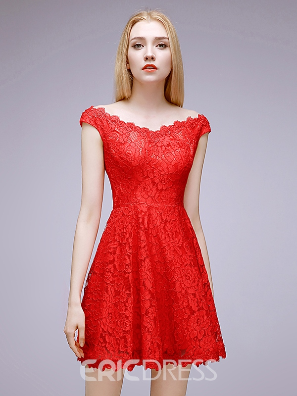 Ericdress A-Line V-Neck Straps Short Red Lace Homecoming Dress
