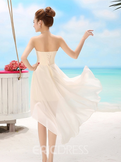 Ericdress Comely Flower Sweetheart Asymmetry Bridesmaid Dress