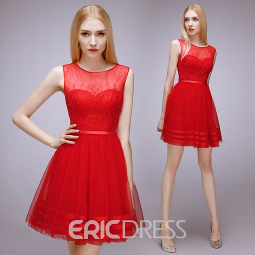 Ericdress Round Neck Beaded Lace Zipper-up Short Homecoming Dress