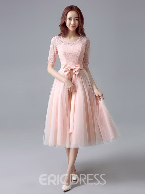 Ericdress Beautiful Scoop Lace Tea Length Bridesmaid Dress
