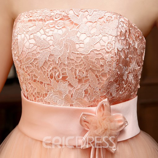 Ericdress Strapless A-Line Lace Flower Homecoming Dress