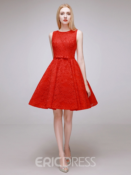 Ericdress Scoop Neck Bowknot A-Line Knee-Length Lace Homecoming Dress