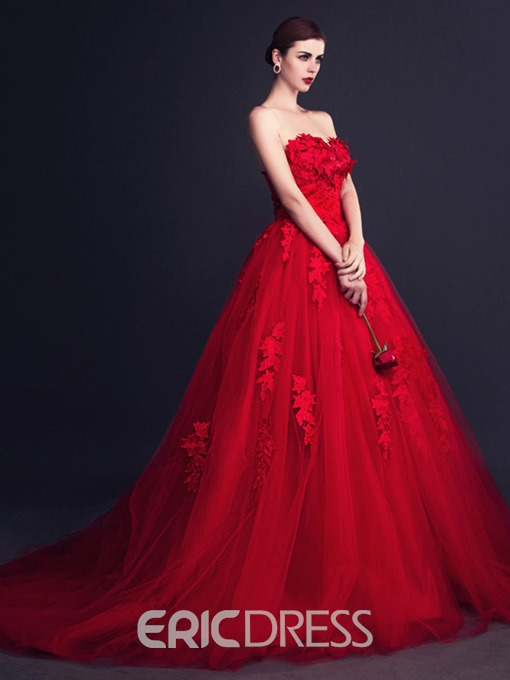 Ericdress Sweetheart Lace Appliques Red Wedding Dress