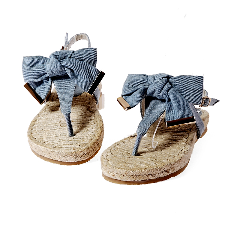 Denim Bowknot Clip-toe Flat Sandals