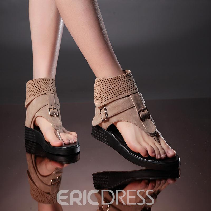 Ericdress Cool Thong Flat Sandals with Buckle
