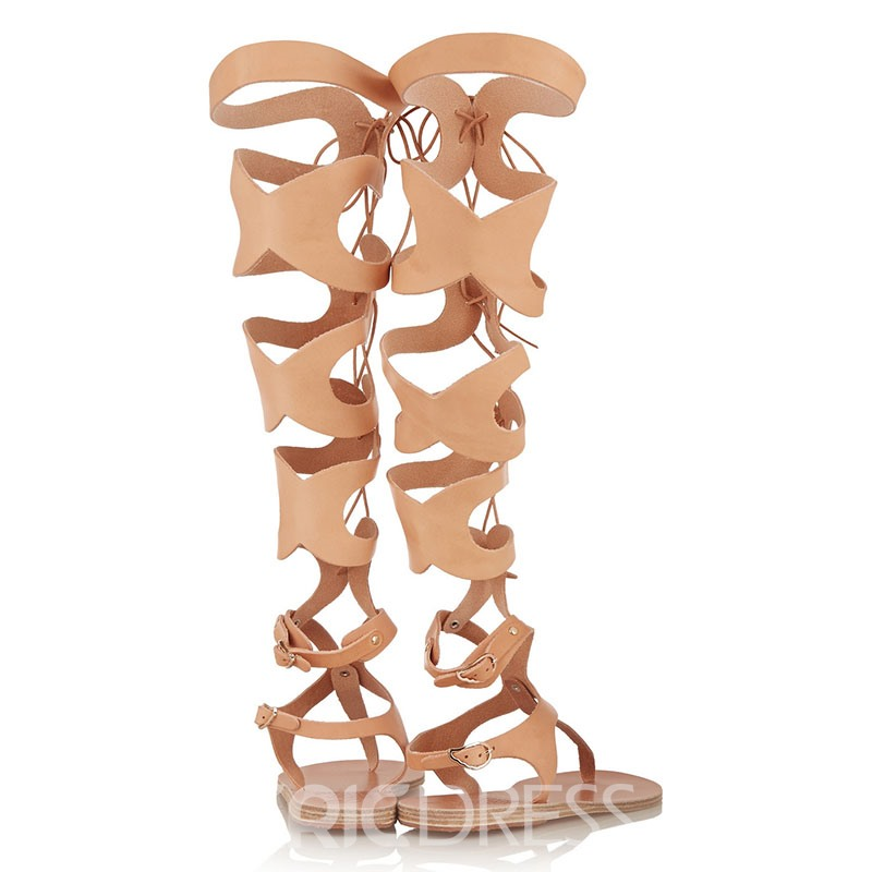 Hollow-outs Lace-up Knee High Flat Sandals