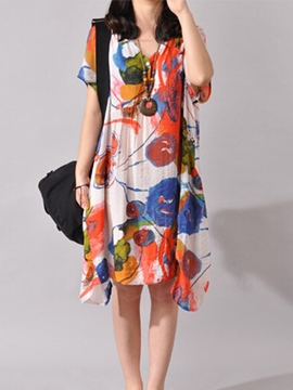Ericdress Ethnic Print Loose Casual Dress