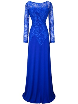 Ericdress Bateau Long Sleeves Floor-Length Evening Dress