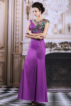 Ericdress Jewel Neck Cap Sleeve Long Mermaid Evening Dress