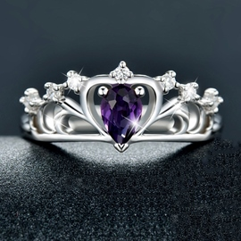 Ericdress Natural Purple Crystal Crown Silver Ring