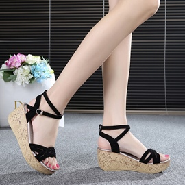 Knitting Crossed-ties Wedge Sandals