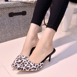 Ericdress Leopard Print Pointed-toe Stiletto Heel Slippers