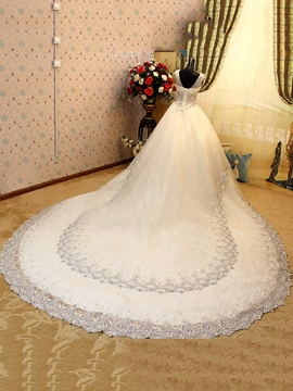 Luxurious V-Neck Sleeveless Beads Cathedral Wedding Dress