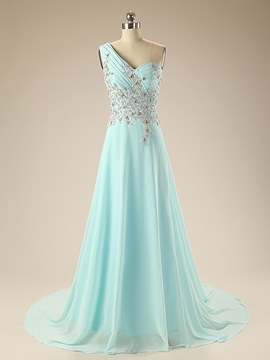 Ericdress One-Shoulder Court Train Appliques Long Evening Dress With Beadings