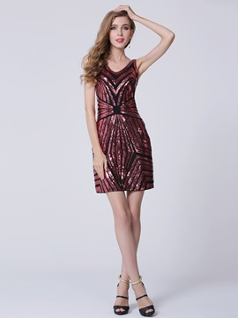 Ericdress V Neck Column Sequins Red Cocktail Dress