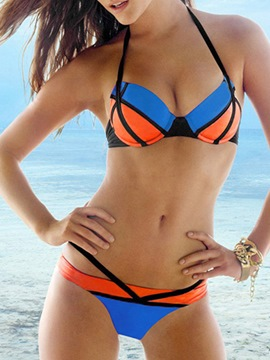 Color Block Halt Triangle Bikini Set