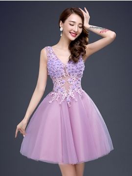 Ericdress Appliques V-Neck A-Line Homecoming Dress