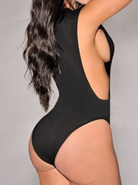 Ericdress Solid Color U-Neck Zipper Monokini