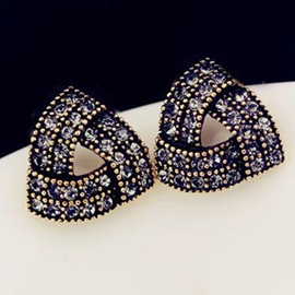 Ericdress Vintage Diamond Irregular Triangle Stud Earrings (Price For A Pair)