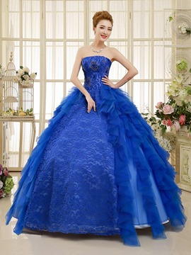 Ericdress Strapless Lace Beaded Ball Kleid lang Quinceanera Kleid