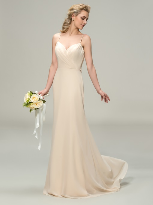 Ericdress Spaghetti Straps Draped Long Bridesmaid Dress