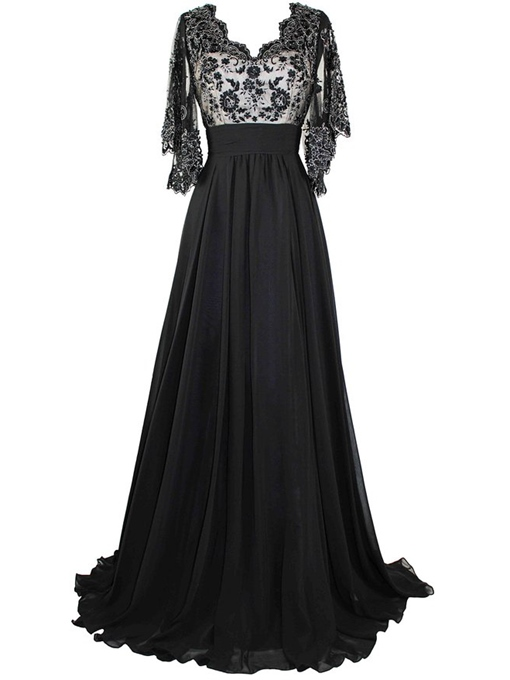 Ericdress Floor-Length Half Sleeves Appliques V-Neck Prom Dresses Evening Dress