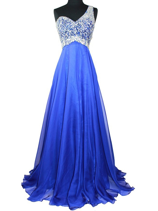 Ericdress Sleeveless A-Line One Shoulder Floor-Length Prom Dresses Evening Dress