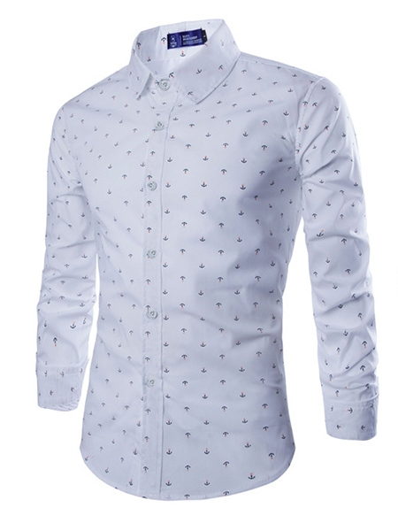 Ericdress Lapel Plain Polka Dots Single-Breasted Mens Dress Shirt