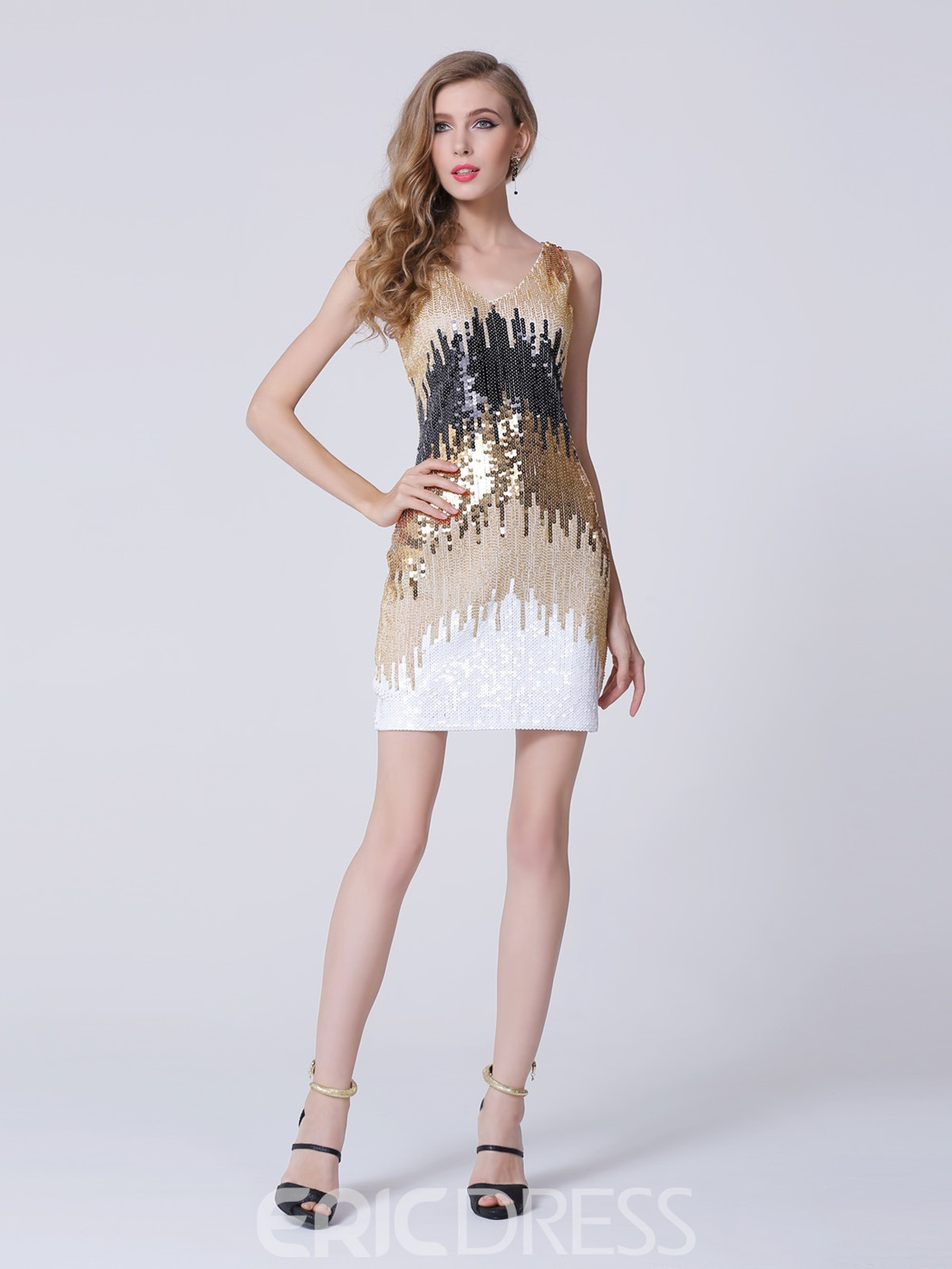 Sexy V-Neck Column Short Sequined Party Dress