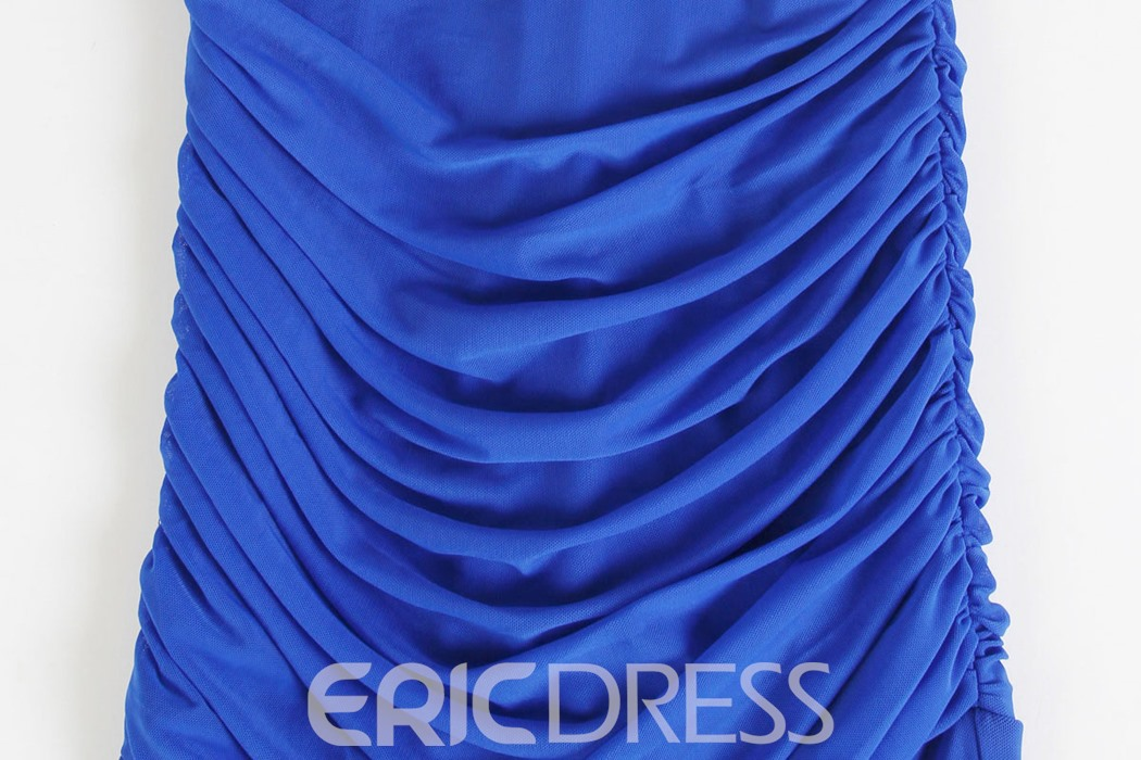 Ericdress V-Neck Beaded Ruches Sheath Evening Dress