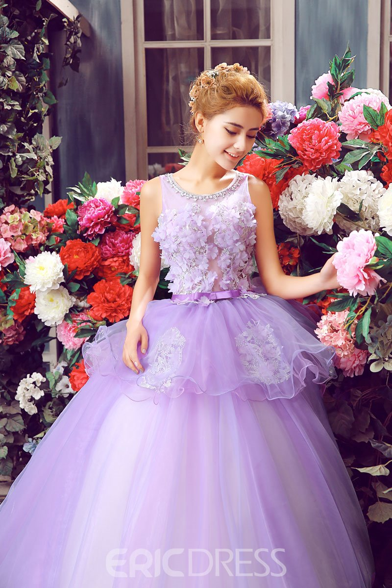 Ericdress Jewel Neck Appliques Pearl Long Quinceanera Dress