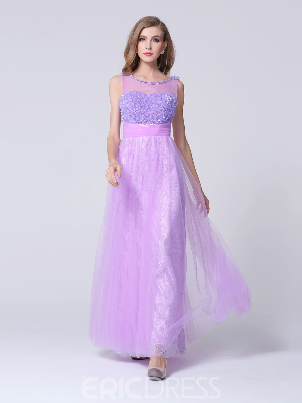 Dramatic Scoop Neck Beading Lace Long Prom Dress