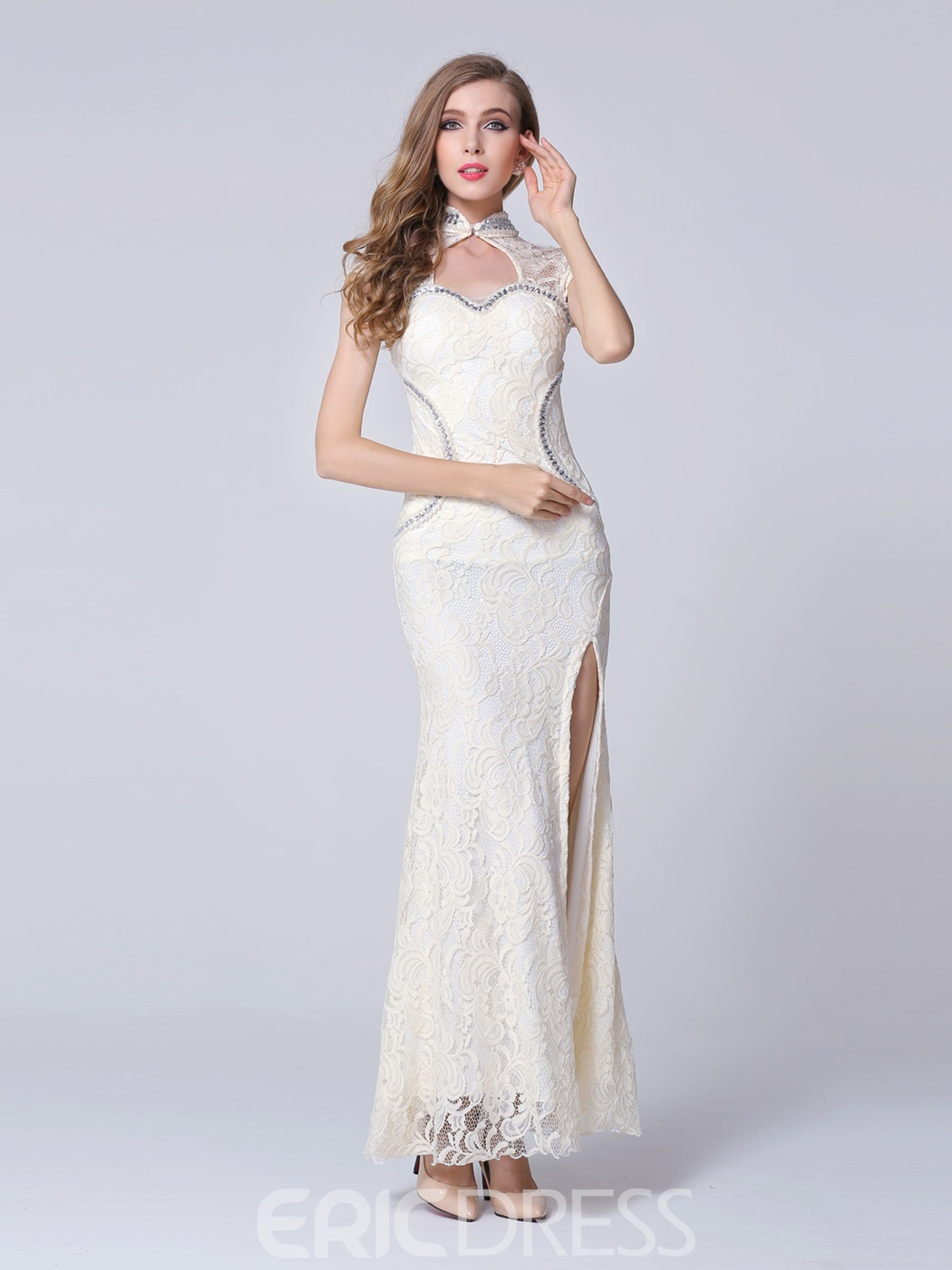 Ericdress High Neck Split-Front Sheath Cap Sleeve Long Lace Evening Dress