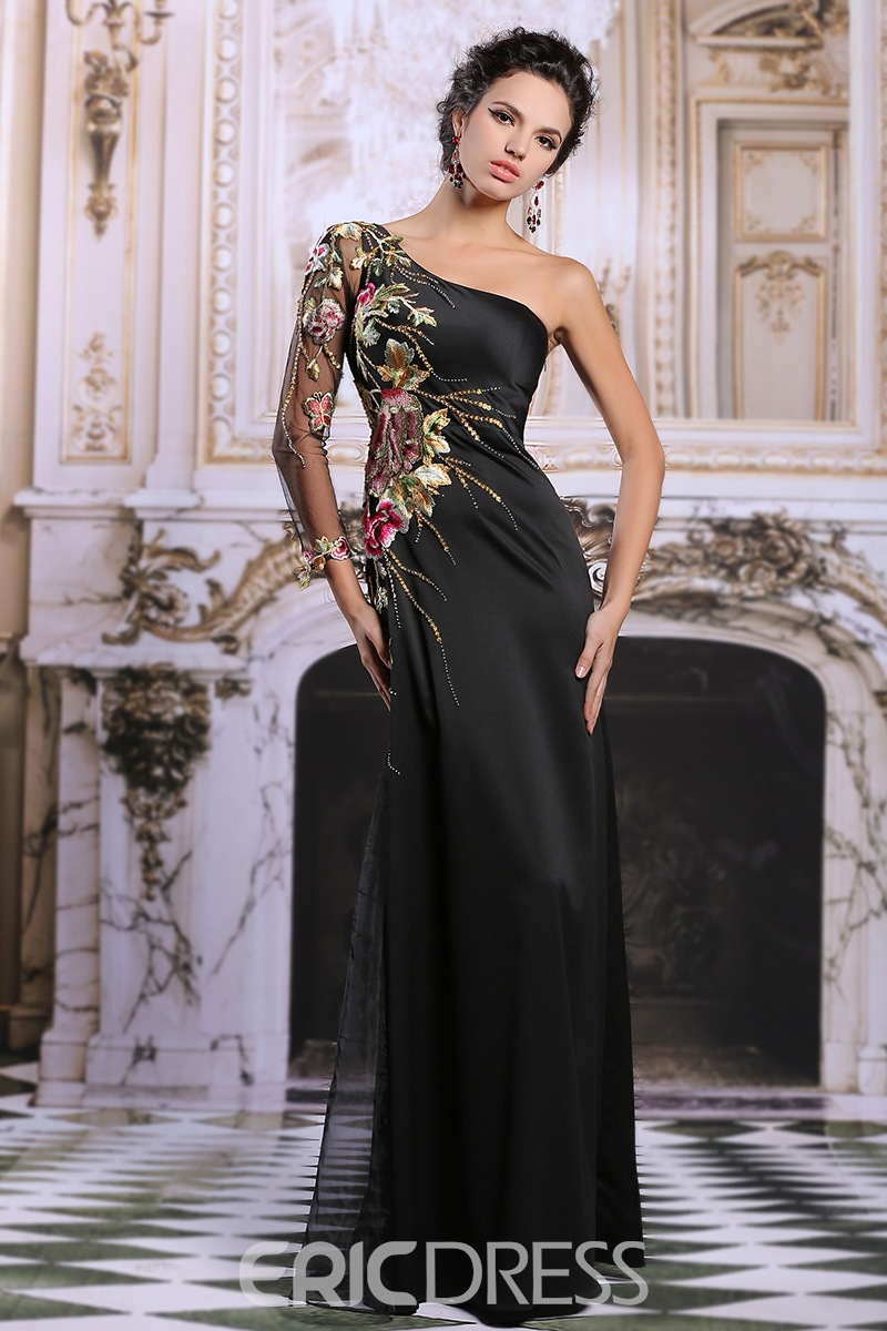 Ericdress Appliques Sequins One-Shouler Long Evening Dress