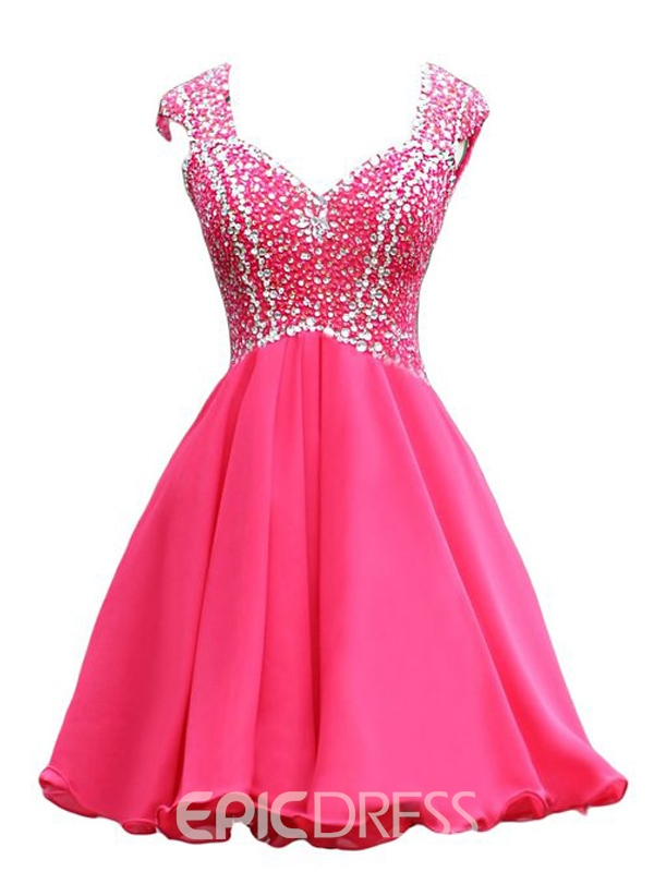 Ericdress Straps Beaded A-Line Short Homecoming Dress