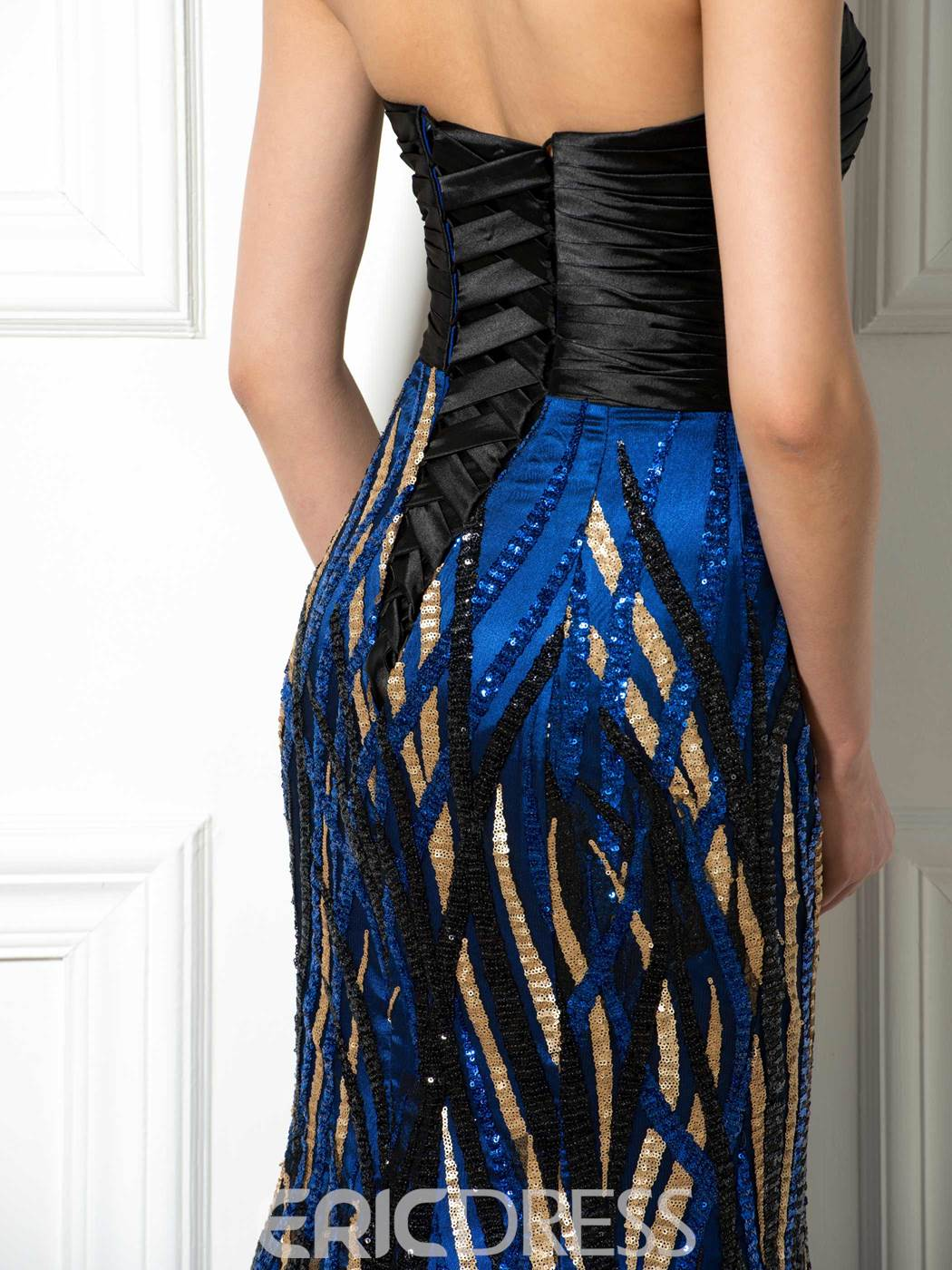 Ericdress Strapless Sequins Lace-Up Mermaid Long Evening Dress