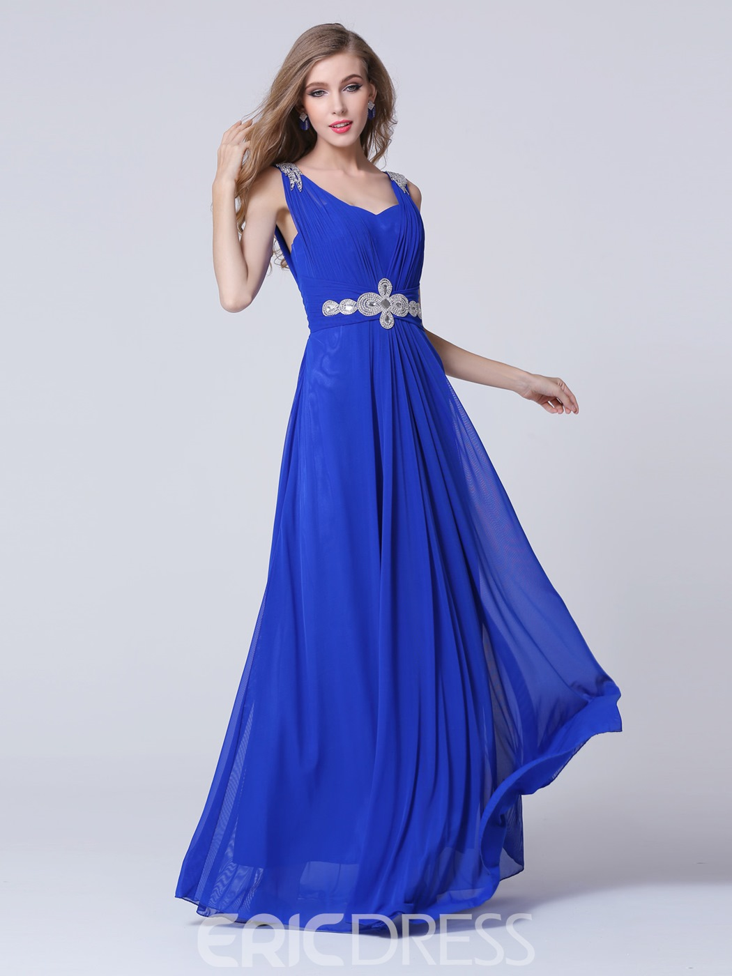 Ericdress Straps Rhinestone A-Line Long Evening Dress