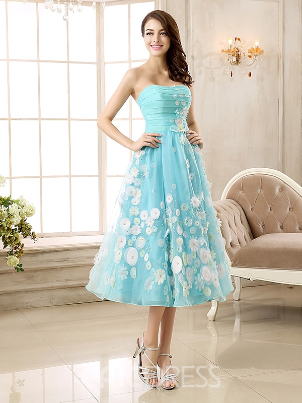 Ericdress Strapless Beadings Appliques Tea-Length Prom Dress