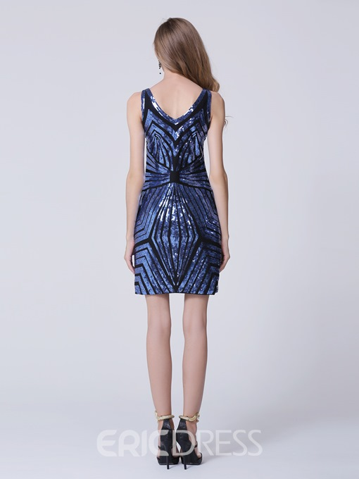 Modern Column V-Neck Sequins Short Cocktail Dress