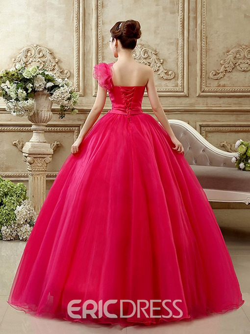 Ericdress One-Shoulder Sequins Floor-Length Quinceanera Dress