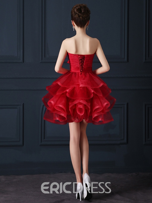 Ericdress Strapless Bowknot Tiered A-Line Homecoming Dress
