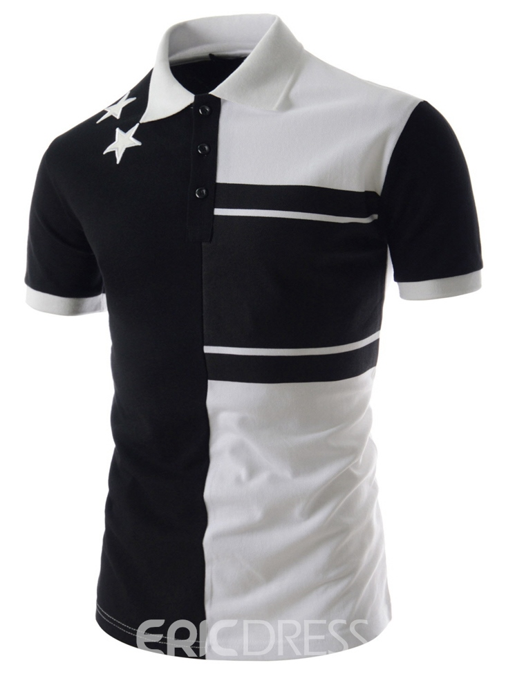 Ericdress Plain Stripe Print Short Sleeve Men's T-Shirt